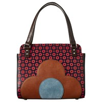 Orla Kiely Jeanette Leather Flower Foulard Bowler Bag Multi