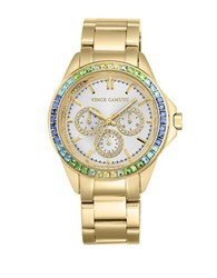 Vince Camuto Goldtone Stainless Steel Multi Color Crystal Chronograph Vc 5086Mtgb