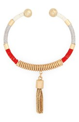 Sole Society Women's Global Tassel Chain Fringe Bracelet Coral Combo