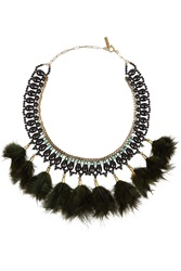 Isabel Marant Gold Tone Crystal And Feather Necklace Green