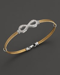 Charriol Classique Collection 18K White Gold Stainless Steel And Yellow Stainless Steel Nautical Cable Diamond Bracelet