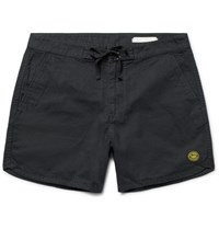 Outerknown Happy Source Mid Length Organic Cotton And Hemp Blend Swim Shorts Black