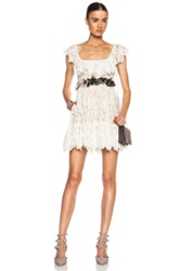 Valentino Butterfly Lace Dress With Portrait Collar And Embroidered Belt In Floral White