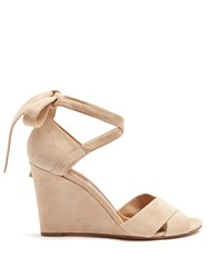 Aquazzura Tarzan Suede Wedge Sandals Nude