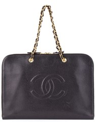 Chanel Vintage Logo Detail Flat Briefcase Black
