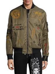 Haculla Embroidered Bomber Jacket Army Green