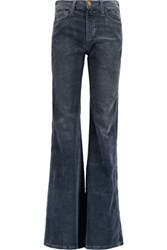 Current Elliott Girl Crush Corduroy Mid Rise Flared Jeans Storm Blue