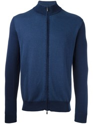 Canali Zip Up Cardigan Blue