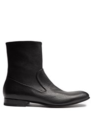 Alexander Mcqueen Zip Up Leather Ankle Boots Black