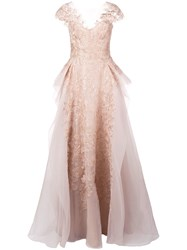Marchesa A Line Gown Gold