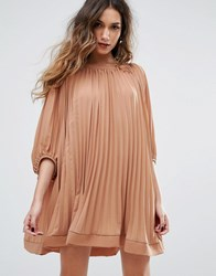 Missguided Pleated Swing Dress Rust Brown