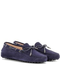 Tod's Heaven New Laccetto Suede Loafers Blue