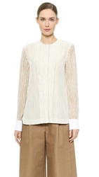 Maiyet Collarless Button Down White Stone
