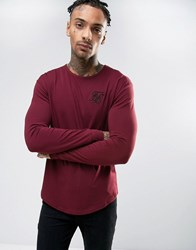 Sik Silk Siksilk Long Sleeve Muscle T Shirt Burgundy Red