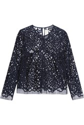Michelle Mason Open Knit Wool Blend And Mesh Top Midnight Blue