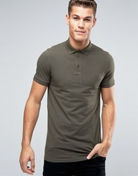 Asos Longline Muscle Polo Shirt In Green Forest Night