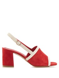 Mansur Gavriel Bi Colour Suede Block Heel Sandals Red
