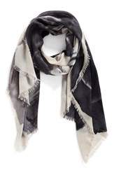 Nordstrom Women's Solar Floral Cashmere And Silk Scarf Grey Combo