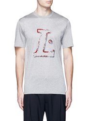 Lanvin Logo Velvet Flock Print Cotton T Shirt Grey