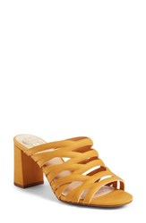 Vince Camuto Raveana Cage Mule Mustard Yellow Leather