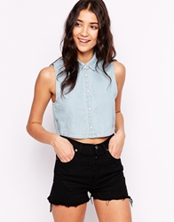 Glamorous Sleeveless Denim Shirt Lightbluewash