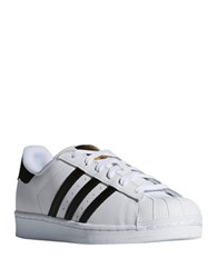Adidas Superstar Striped Leather Sneakers White Black