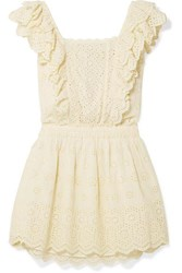Loveshackfancy Dora Ruffled Broderie Anglaise Cotton Mini Dress Pastel Yellow