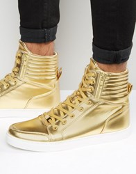 Asos Trainers In Gold With Large Cuff And Zips Gold