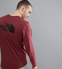 The North Face Easy Long Sleeve Top Back Logo Print Exclusive To Asos In Burgundy Barolo Red