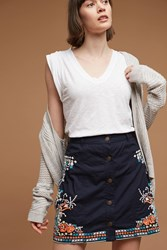 Anthropologie Embroidered Floral Mini Skirt Blue Motif