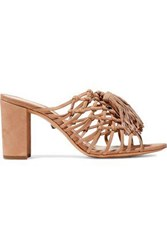 Schutz Woman Emily Knotted Tasseled Suede Mules Beige