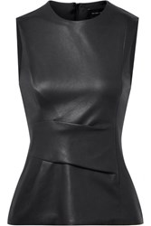 Narciso Rodriguez Gathered Leather Top Midnight Blue