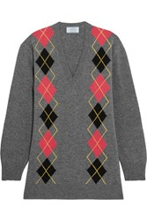 Prada Argle Wool Sweater Gray