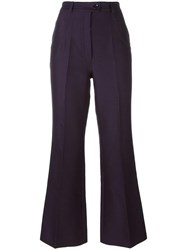 Nina Ricci Flared High Waisted Trousers Blue