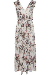 Marissa Webb Viola Ruffled Floral Print Silk Georgette Midi Dress White