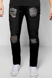 Boohoo Slim Fit Rigid Destroyed Jean Black