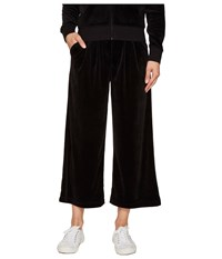 Juicy Couture Lightweight Velour Cropped Wide Leg Trousers Pitch Black Women's Casual Pants