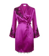 Marjolaine Baccarat Lace Detail Silk Robe Female Purple