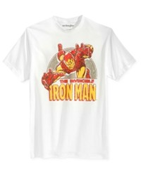 Mighty Fine Men's Iron Man Swoop Graphic Print T Shirt White