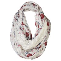Fat Face Bali Floral Snood Off White Red