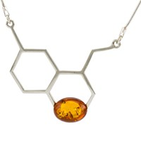 Be Jewelled Honeycomb Baltic Amber Chain Necklace Silver Cognac