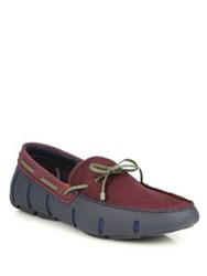 Swims Braided Rubber And Mesh Loafers Navy Plum