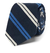 Polo Ralph Lauren 7Cm Madison Striped Slub Silk Tie Navy