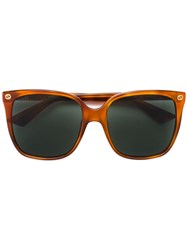 Gucci Eyewear Oversized Square Sunglasses Yellow Orange