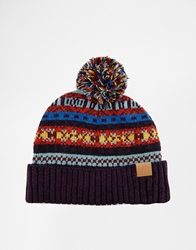 Asos Fair Isle Bobble Beanie Hat In Wool Blend Multi