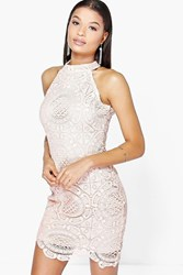 Boohoo Crochet Lace Sleeveless Bodycon Dress Blush
