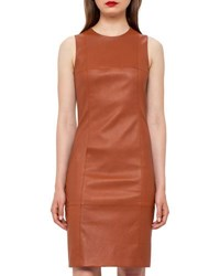 Akris Seamed Leather Sheath Dress Cigar