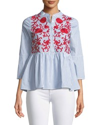 Haute Rogue Lisa Embroidered Button Front Blouse Multi