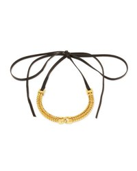 Fallon Link Front Leather Choker Necklace Gold