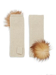 Portolano Fox Fur Pom Pom Honeycomb Knit Cashmere Fingerless Gloves Beige Silver